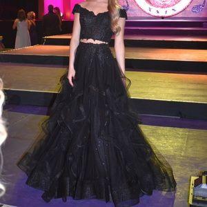 Sherri Hill Black 2 Piece Ball Gown
